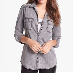 BP. Gray Chambray Shirt with Studs Size L